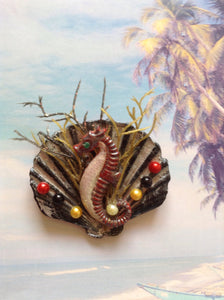 Seahorse and shell brooch