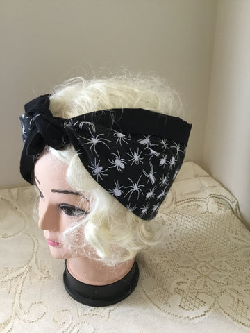 Spider .. vintage inspired do-rag .. reversible hair scarf