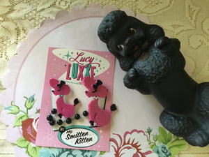 ISOBEL .. French poodle brooch ...hot pink