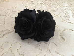 Double soft rose hairflowers - various colours