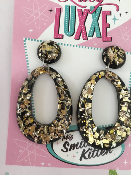BIG BETTY ... gold confetti lucite hoops ...BLACK