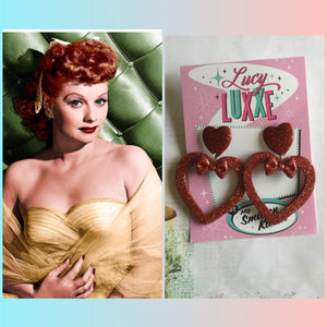 LUCILLE ... love yourself heart earrings ... with bow ... red