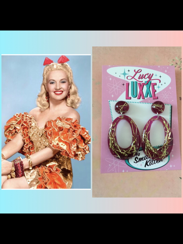 BIG BETTY.. gold thread hoop earrings ... grape