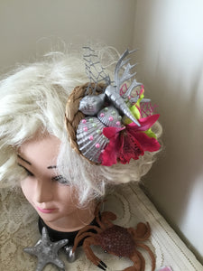 MERMAID COVE - bespoke shell cluster fascinator - hot pink / green orchids