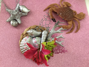 MERMAID COVE .. bespoke shell cluster fascinator.. hot pink / green