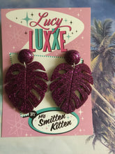 Load image into Gallery viewer, MISS KATE tiki queen - monstera leaf earrings - Purple glitter
