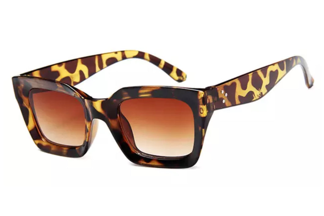 Retro square frame sunglasses - LEOPARD TEA