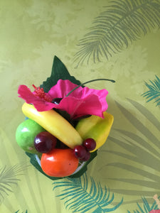 LEILANI - Pink hibiscus  / Fruit cluster hairpiece