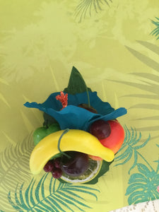 LEILANI - Teal hibiscus  / Fruit cluster hairpiece