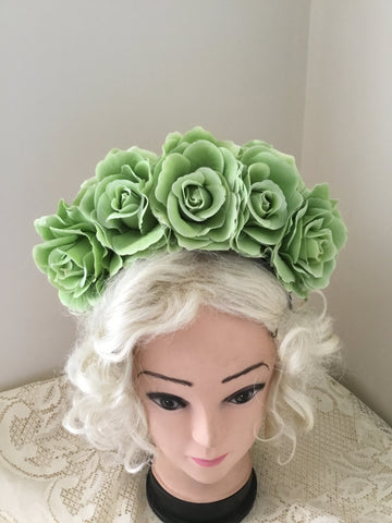 FRIDA ... lime green  rose flower crown