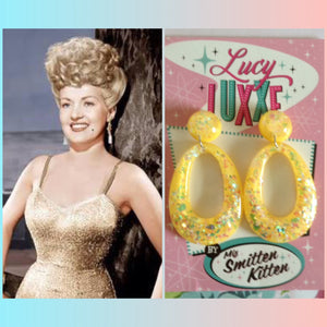 BIG BETTY yellow confetti lucite hoops