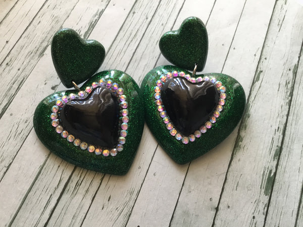 ELIZABETH..DOUBLE QUEEN OF HEART EARRINGS .. emerald green with black