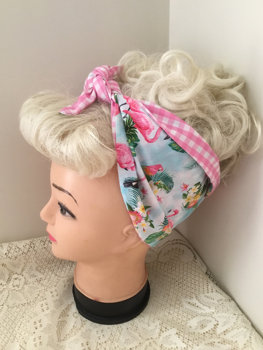 TROPICAL FLAMINGO 🦩 - vintage inspired do-rag