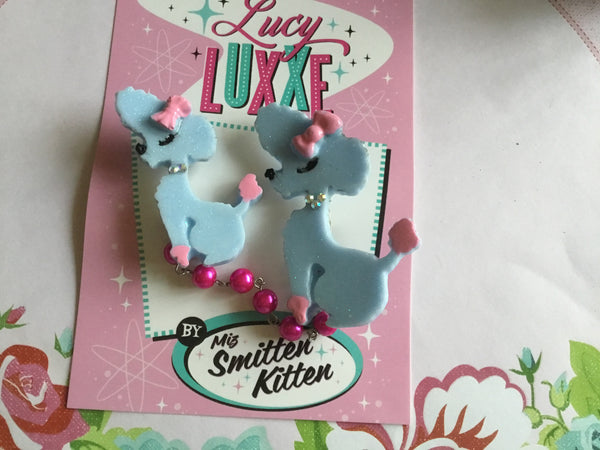 ISOBEL.. French poodle brooch .. light blue