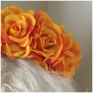FRIDA - rose flowercrown  - Burnt yellow