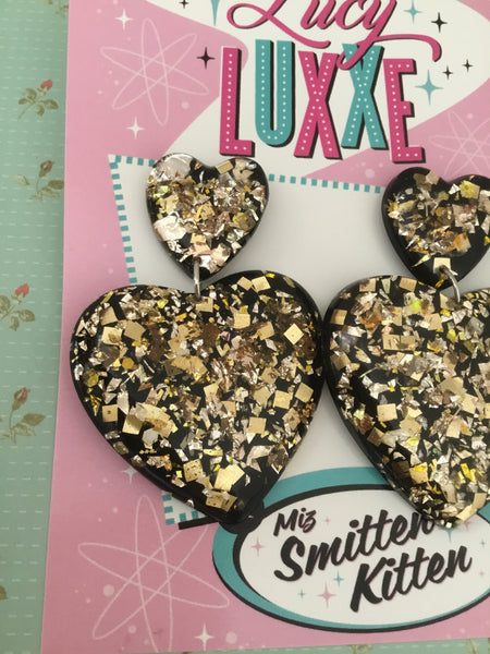 JAYNE ... gold confetti big heart earrings ... BLACK