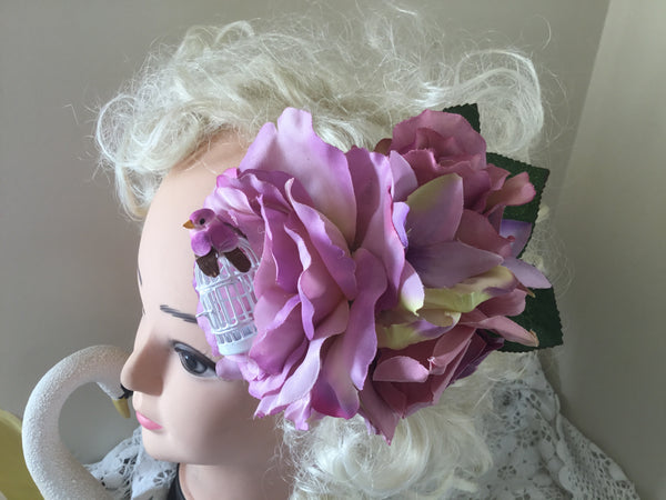 REBECCA  .. large lilac flower cluster .. with a birdcage