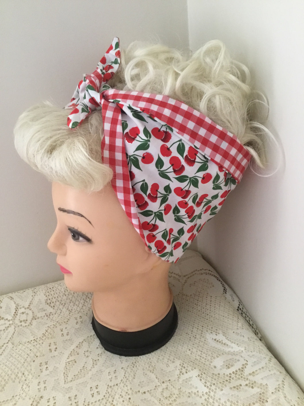 WHITE CHERRY - vintage inspired do-rags