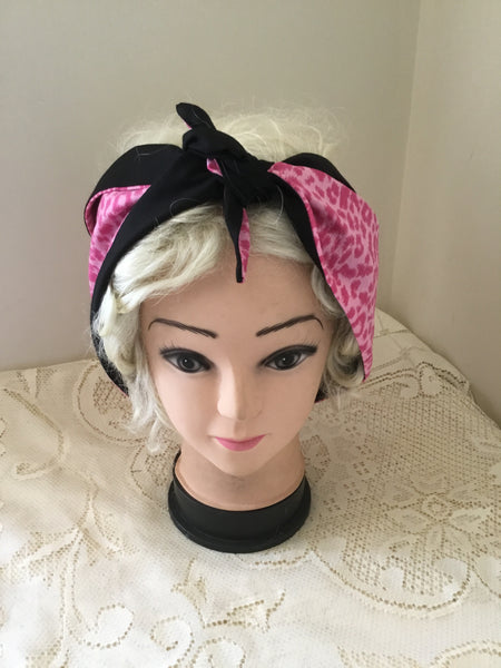 Pink leopard .. vintage inspired do-rag .. reversible hair scarf