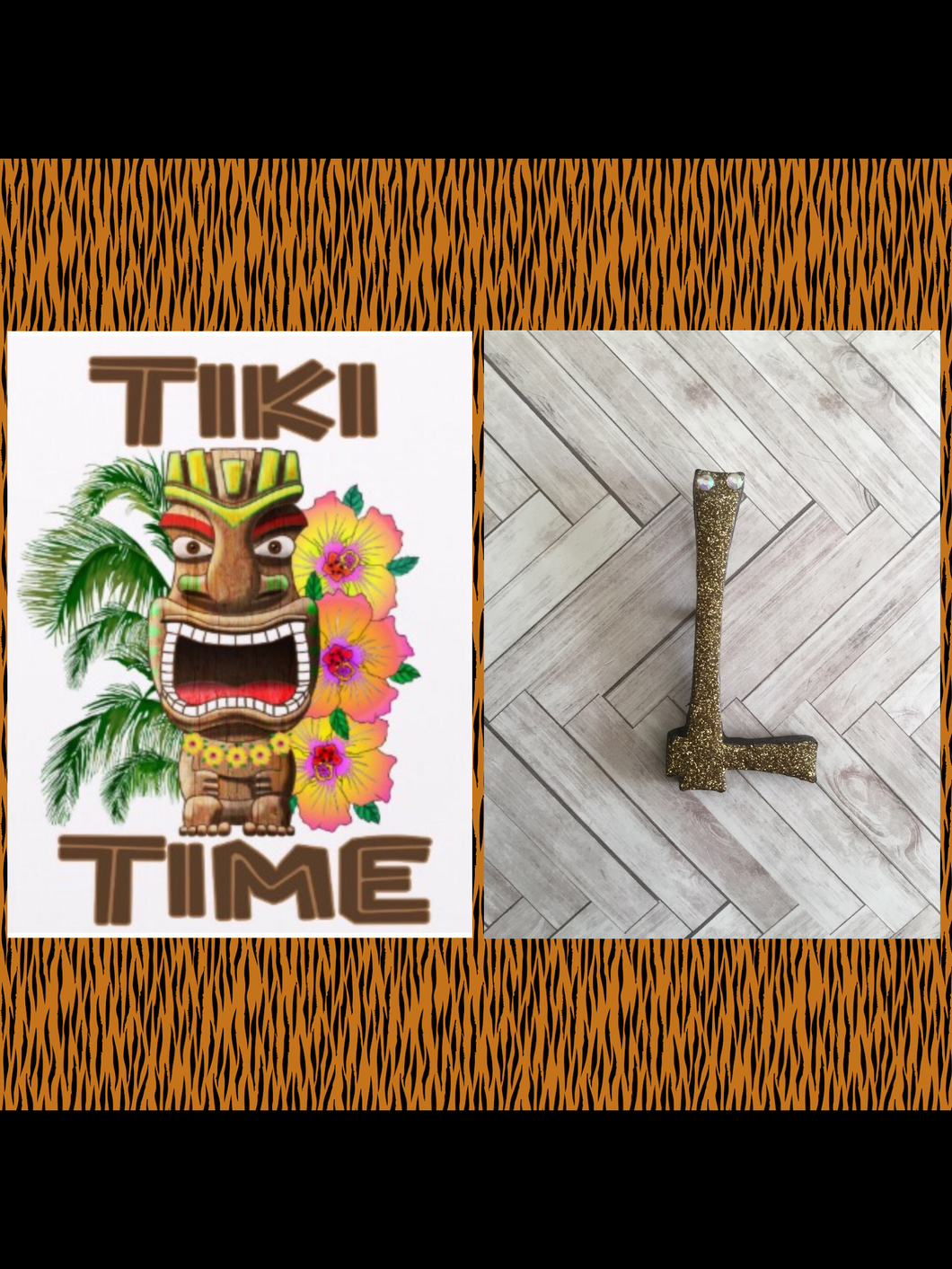 L - TIKI font initial brooch , exclusive design - various colours