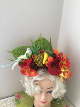 Load image into Gallery viewer, ALISSA - Beautiful tropical flowercrown ,with a gorgeous removable budgie bird