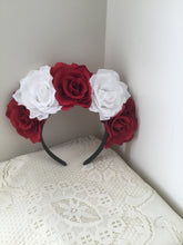 Load image into Gallery viewer, FRIDA - rose flowercrown  - red / white