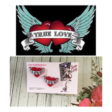 Load image into Gallery viewer, REBEL TRUE LOVE - flocked tattoo banner heart earrings
