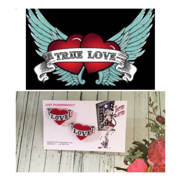 REBEL TRUE LOVE .. flocked tattoo banner heart earrings