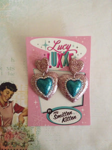 ELIZABETH - Double heart earrings - pink / teal