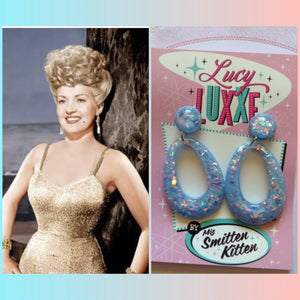 BIG BETTY blue confetti lucite hoops