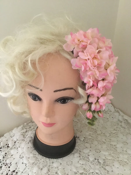 LOLA ..vintage inspired cascading cluster hairpiece .. LIGHT PINK