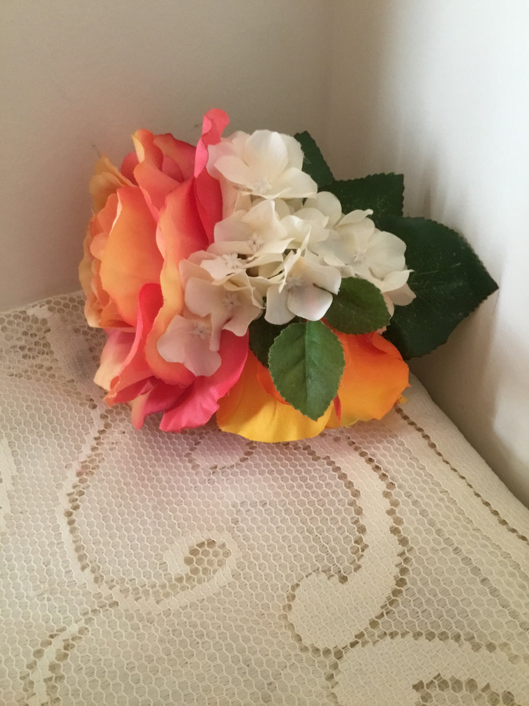AMY - hair flower cluster - orange / ivory