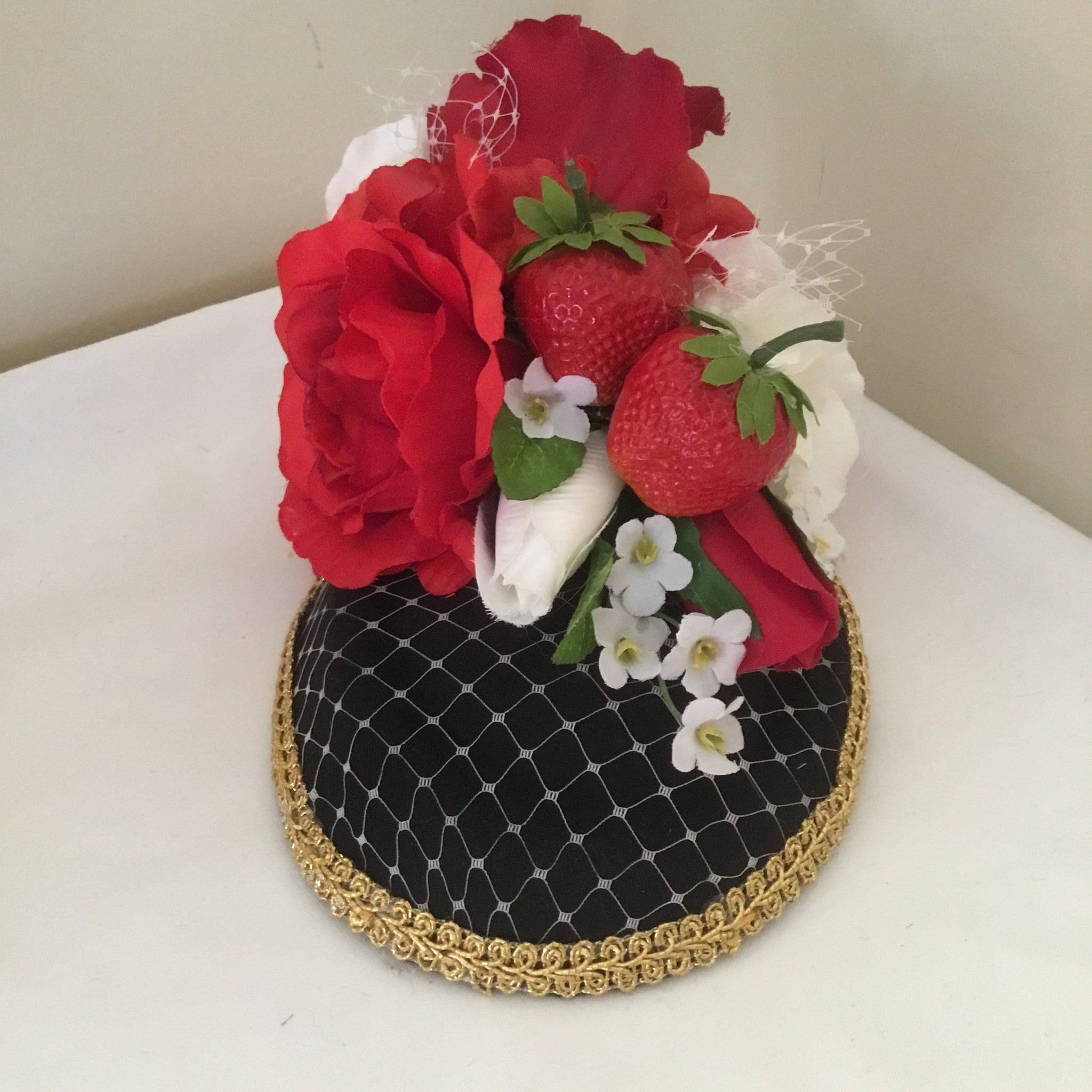 STRAWBERRY FIELDS .. bespoke strawberry fascinator/ pillbox hat ..