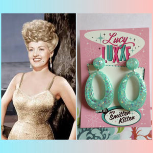 BIG BETTY mint confetti lucite hoops