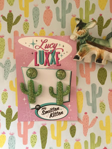 SOUTH OF THE BORDER - cactus 🌵earrings - green / gold