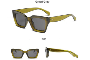 Retro square frame sunglasses - GREEN