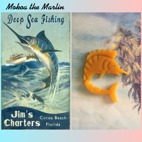 MOKOA.. the marlin brooch .. vintage inspired ... butterscotch