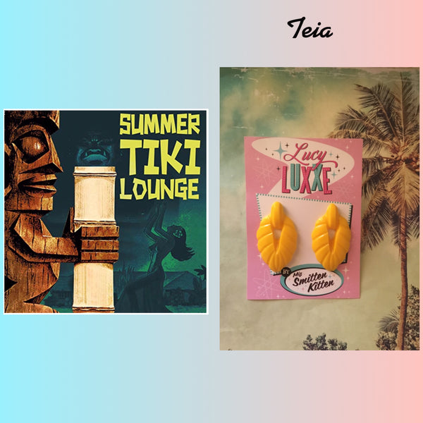 TEIA ..tiki lounge style earrings ... yellow