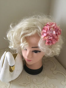HELENA . Vintage inspired hydrangea cluster hair clip.. PINK