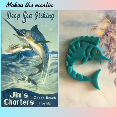 MOKOA.. the marlin brooch vintage inspired teal