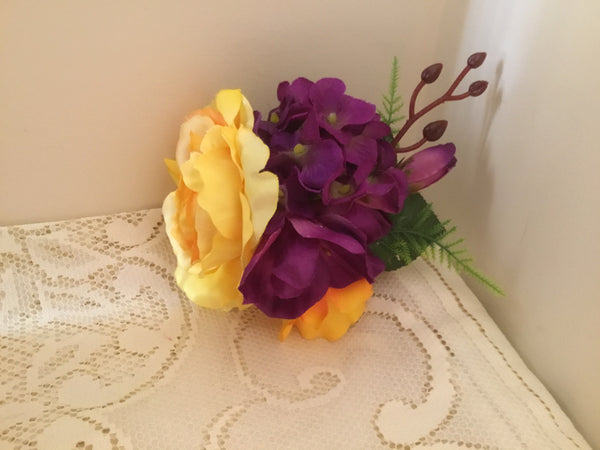 KATIE.. large vintage inspired cluster hairflower .. yellow and purple