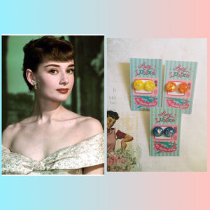 AUDREY.. confetti lucite dome earrings ..various colours