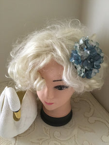 HELENA . Vintage inspired hydrangea cluster hair clip.. BLUE