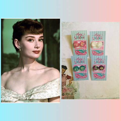 AUDREY..confetti lucite dome earrings ...various colours