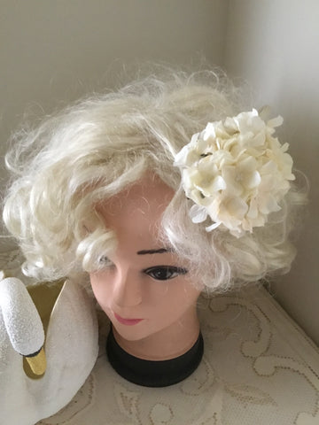 HELENA . Vintage inspired hydrangea cluster hair clip.. IVORY
