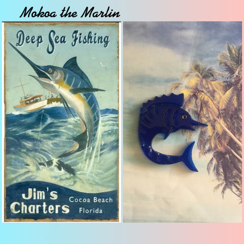 MOKOA.. the marlin brooch vintage inspired ... dark blue