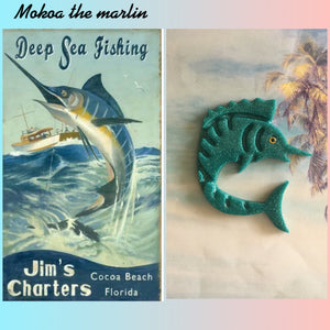 MOKOA.. the marlin brooch vintage inspired teal glitter