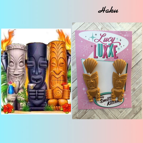 HAKU ... big tiki style earrings