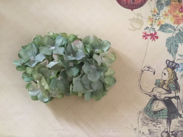 HELENA . Vintage inspired hydrangea cluster hair clip.. GREEN
