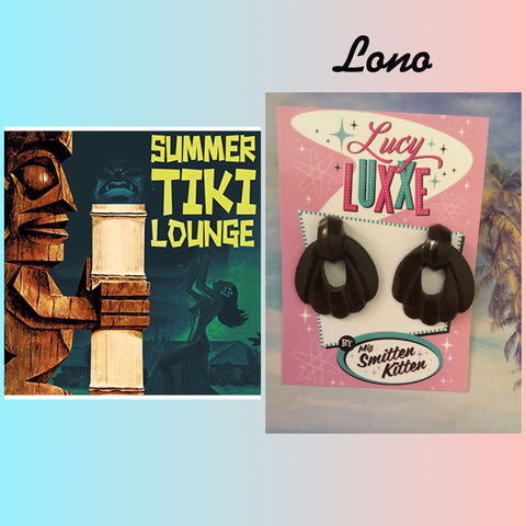 LONO .. tiki lounge style earrings ...chocolate brown